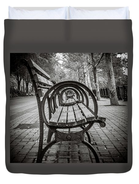 Duvet Cover featuring the photograph Bench Circles by Steve Stanger