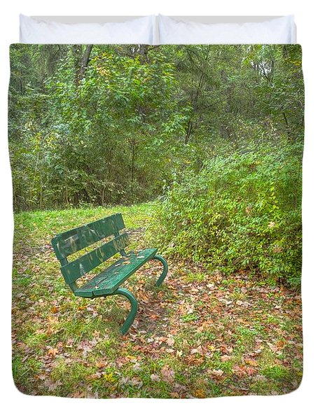 Bench Overlooking Pine Quarry Duvet Cover