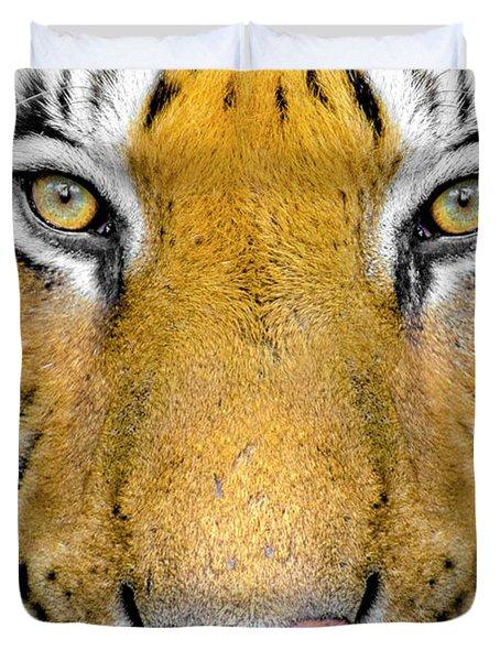 Bengal Tiger Head Close Up, India Duvet Cover