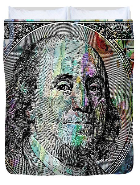 Benjamin Franklin 100 Bucks Watercolor  Duvet Cover