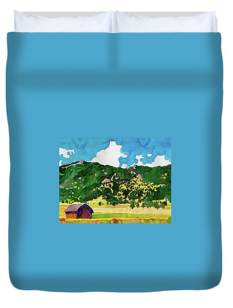 Duvet Cover featuring the painting Bergen Peak Summer Watercolor by Dan Miller