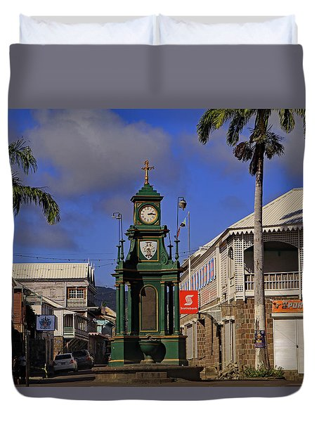 Duvet Cover featuring the photograph Berkeley Memorial Clock by Tony Murtagh