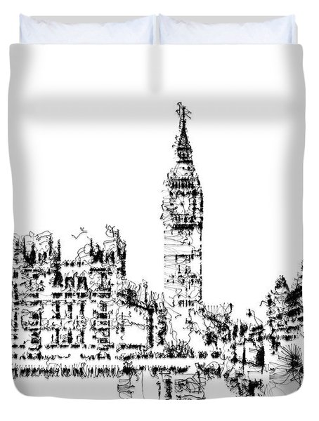 Duvet Cover featuring the digital art Big Ben by ISAW Company