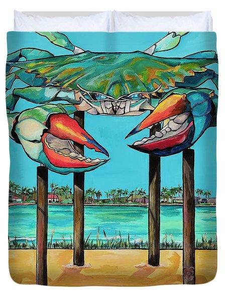 Big Blue Crab Rockport Duvet Cover