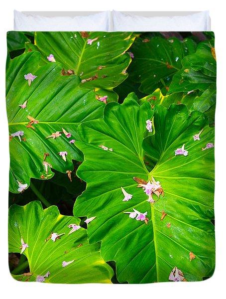 Big Green Leaves Duvet Cover