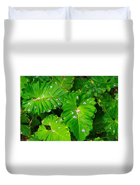 Big Green Leaves Duvet Cover