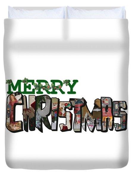 Big Letter Merry Christmas Duvet Cover