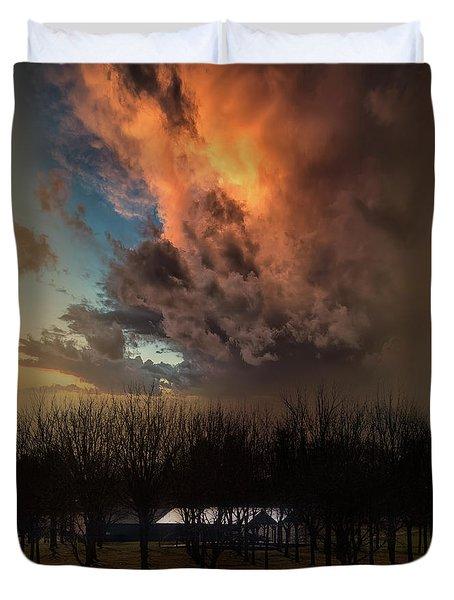 Big Sky Cranes Orchards Michigan Duvet Cover