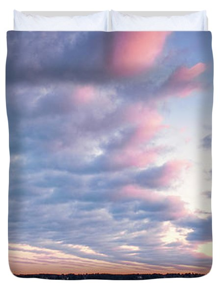 Big Sky Over Portsmouth Light. Duvet Cover
