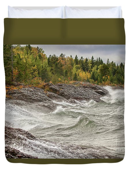 Big Waves In Autumn Duvet Cover