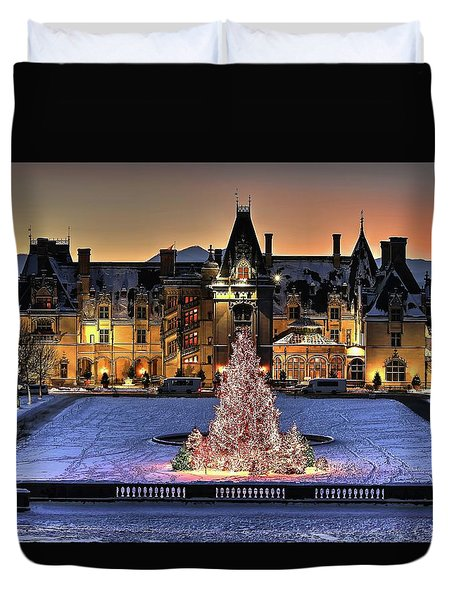 Biltmore Christmas Night All Covered In Snow Duvet Cover