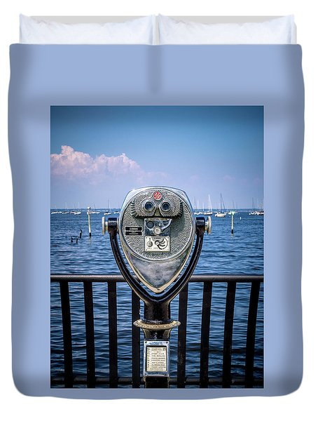 Duvet Cover featuring the photograph Binocular Viewer by Steve Stanger