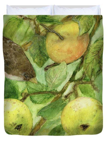 Bird And Golden Apples Duvet Cover