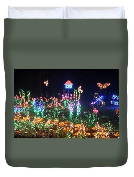 Birdhouse Garden Christmas Lights At Night Duvet Cover