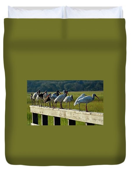 Birds Of A Feather On Jekyll Island Duvet Cover