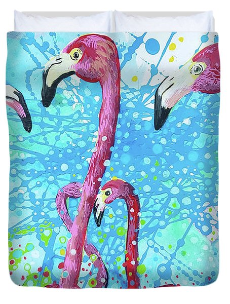 Duvet Cover featuring the painting Birds Of A Feather by Tilly Strauss
