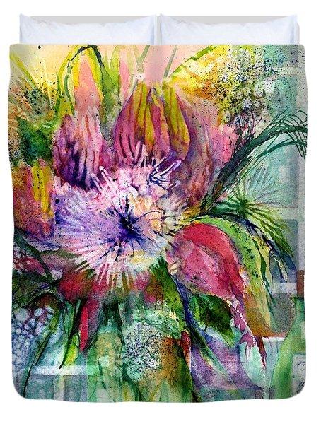 Birthday Flowers Still Life Duvet Cover