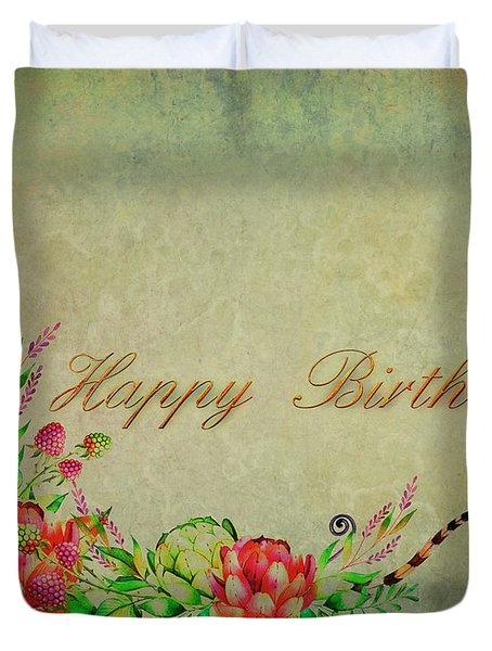 Duvet Cover featuring the digital art Birthday Greetings by Edmund Nagele