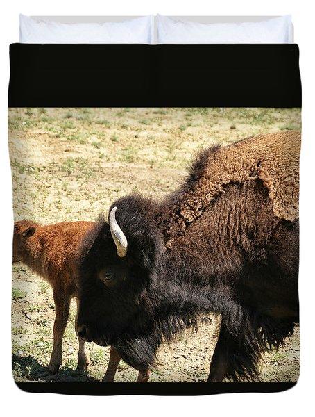 Bison In North Dakota Duvet Cover