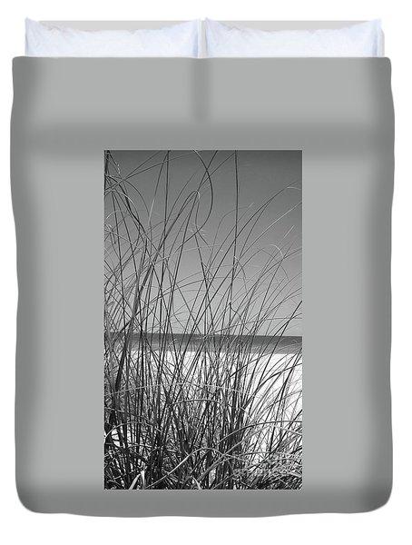 Black And White Beach View Duvet Cover