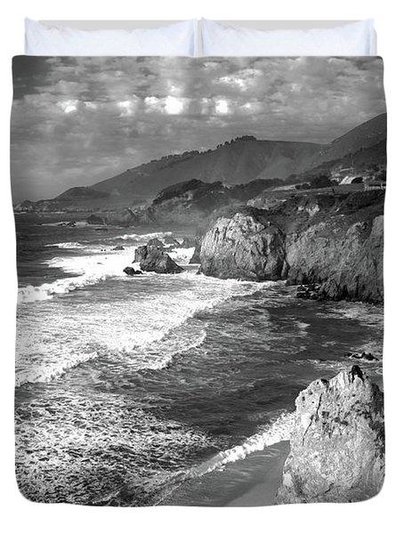 Black And White Big Sur Duvet Cover
