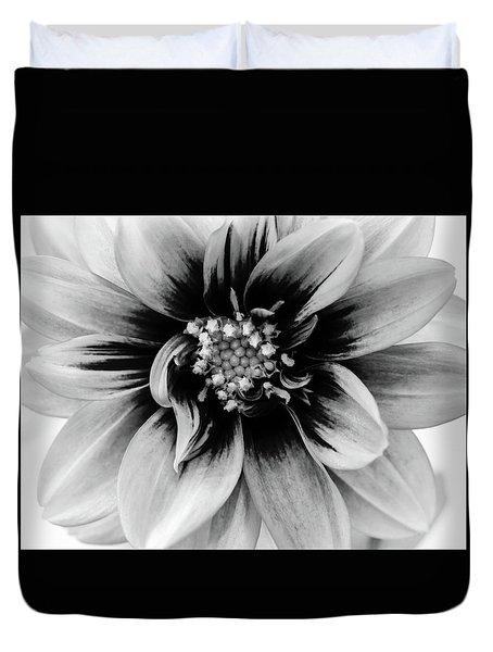 Black And White Dahlia Duvet Cover