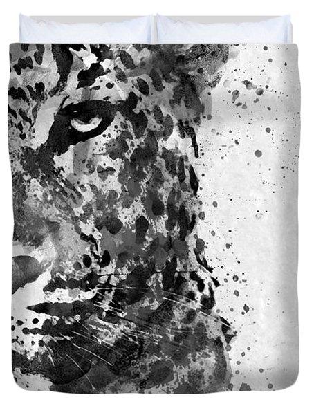 Black And White Half Faced Leopard Duvet Cover