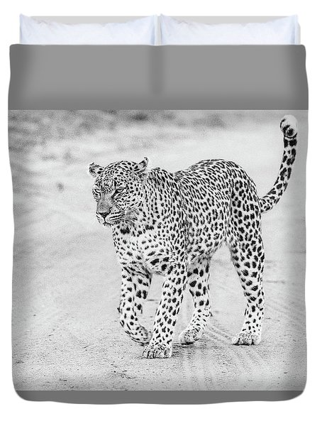 Black And White Leopard Walking On A Road Duvet Cover