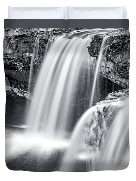 Duvet Cover featuring the photograph Black And White Ludlow Falls by Dan Sproul