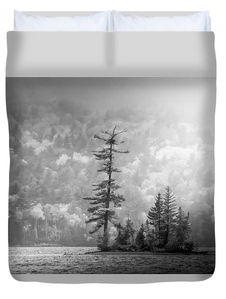 Duvet Cover featuring the photograph Black And White Moody Morning Moosehead Lake by Dan Sproul