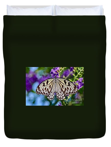 Black And White Paper Kite Butterfly Duvet Cover