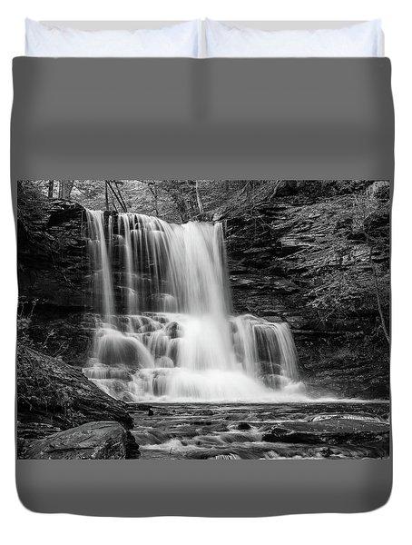 Black And White Photo Of Sheldon Reynolds Waterfalls Duvet Cover