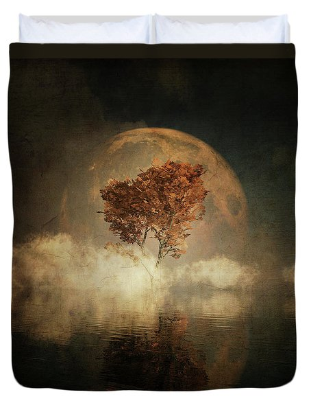 Duvet Cover featuring the digital art Black Ash With Full Moon In The Mist by Jan Keteleer