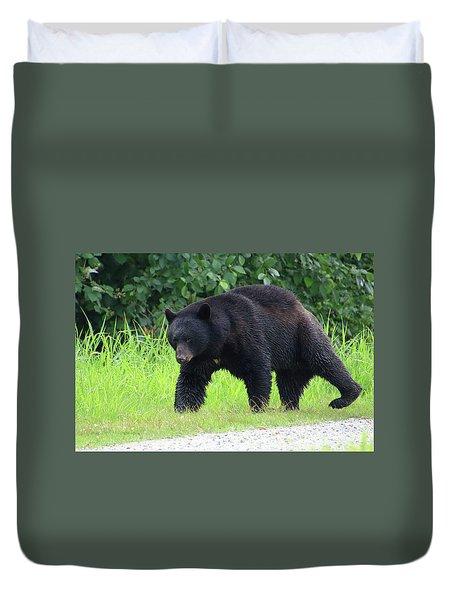 Black Bear Crossing Duvet Cover