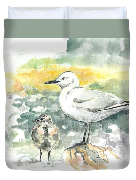Black-billed Gull Family Duvet Cover