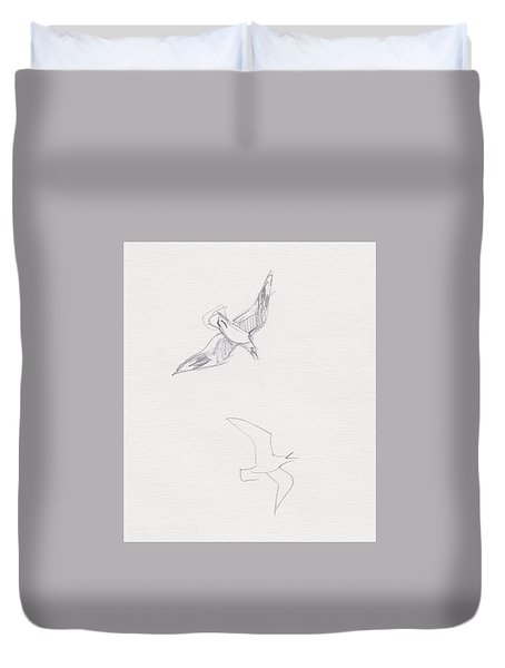 Black-billed Gulls Duvet Cover