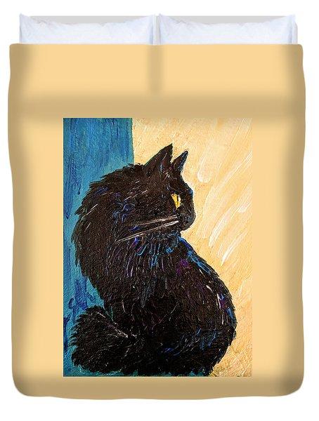 Black Cat In Sunlight Duvet Cover