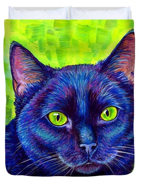 Black Cat With Chartreuse Eyes Duvet Cover