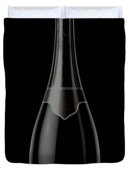 Black Champagne Bottle Open Neck Duvet Cover