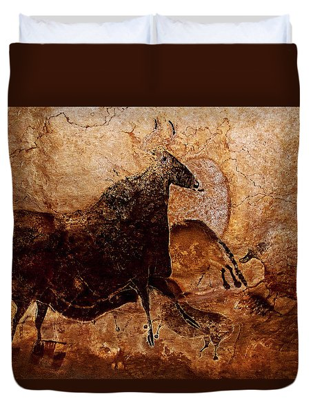 Black Cow And Horses Duvet Cover