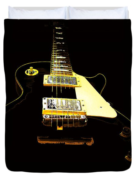 Black Guitar With Gold Accents Duvet Cover