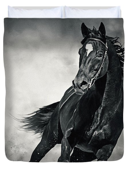 Duvet Cover featuring the photograph Black Horse Running Wild Black And White by Dimitar Hristov