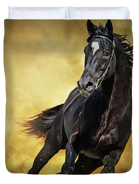 Duvet Cover featuring the photograph Black Horse Running Wild by Dimitar Hristov