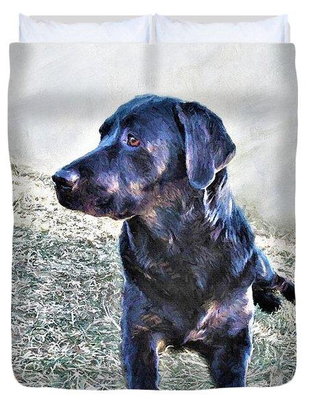 Black Labrador Retriever - Daisy Duvet Cover