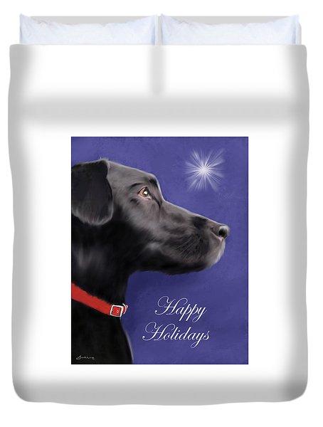 Black Labrador Retriever - Happy Holidays Duvet Cover