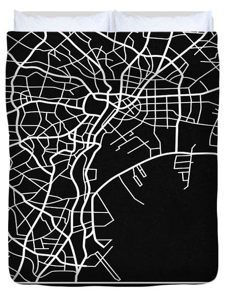 Black Map Of Tokyo Duvet Cover