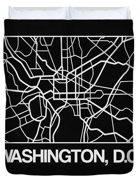 Black Map Of Washington, D.c. Duvet Cover