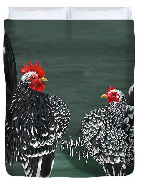 Black Mottled Serama Pair Duvet Cover