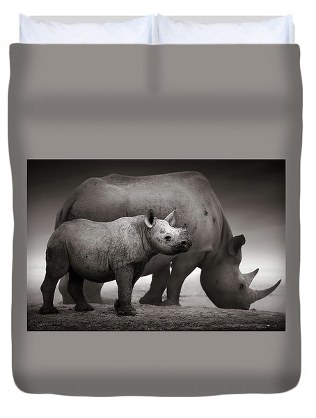 Black Rhinoceros Baby And Cow Duvet Cover