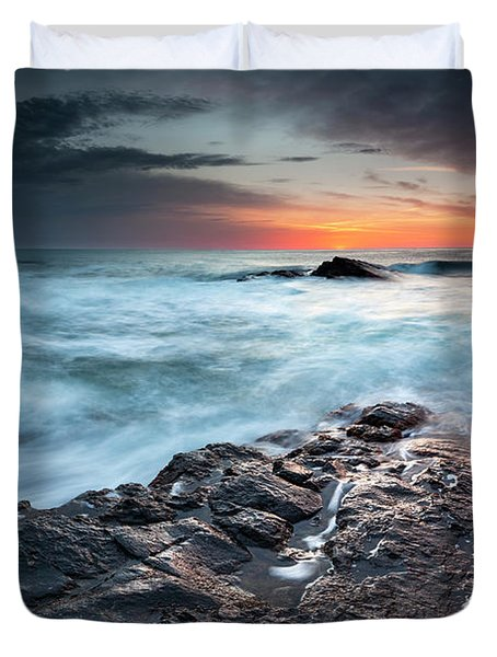 Black Sea Rocks Duvet Cover